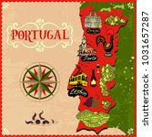 illustrated map of portugal.... | Shutterstock .eps vector #1031657287