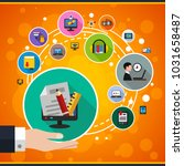 e learning flat icon concept.... | Shutterstock .eps vector #1031658487