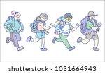 traveler running on isolate | Shutterstock .eps vector #1031664943