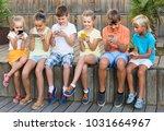 cheerful spanish  children in... | Shutterstock . vector #1031664967