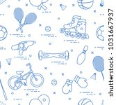 pattern with bicycle  rollers ... | Shutterstock .eps vector #1031667937