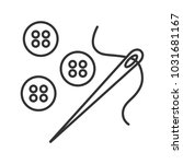sewing buttons and needle with... | Shutterstock . vector #1031681167