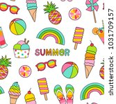 colorful summer elements... | Shutterstock .eps vector #1031709157