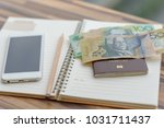 open notebook with pencil diary ... | Shutterstock . vector #1031711437