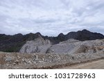 limestone mining in the morning. | Shutterstock . vector #1031728963