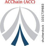 Vector ACChain (ACC) digital cryptocurrency logo. ACChain (ACC) icon. Vector illustration isolated on white background.