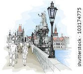 Charles Bridge - Prague, Czech Republic - a vector sketch - stock vector