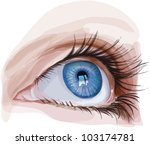 blue eye young girl - vector illustration / eps10 - stock vector