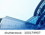 roof of modern office building with copyspace for text - stock photo