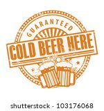 Grunge rubber stamp, with the Beer Mugs and text Cold Beer Here Guaranteed written inside, vector illustration - stock vector