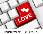 Modern Keyboard With Love Text...