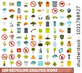 100 recycling analysis icons... | Shutterstock . vector #1031788927