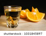 mezcal mexican drink and orange ... | Shutterstock . vector #1031845897