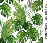 tropical seamless pattern. palm ... | Shutterstock .eps vector #1031866147