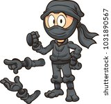 cartoon ninja with different... | Shutterstock .eps vector #1031890567