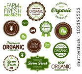 set of organic and farm fresh... | Shutterstock . vector #103192523