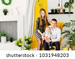happy family sitting on a chic... | Shutterstock . vector #1031948203