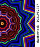 psychedelic neon glitch mandala ... | Shutterstock . vector #1031952787