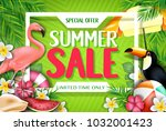 special offer summer sale... | Shutterstock .eps vector #1032001423