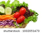 fresh vegetable in the wicker... | Shutterstock . vector #1032051673