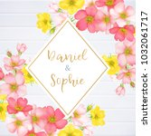 wedding invitation with wild... | Shutterstock .eps vector #1032061717