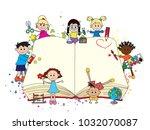 happy children with big open... | Shutterstock . vector #1032070087