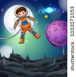 astronaut flying in the deep... | Shutterstock .eps vector #1032071053