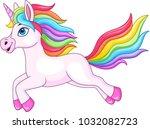 cartoon rainbow unicorn... | Shutterstock .eps vector #1032082723