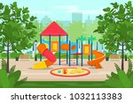 kids playground with slides and ... | Shutterstock .eps vector #1032113383