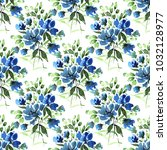 watercolor floral seamless... | Shutterstock . vector #1032128977