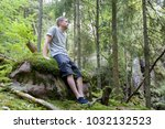 mid adult caucasian man... | Shutterstock . vector #1032132523