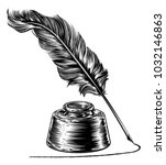 a writing quill feather ink pen ... | Shutterstock .eps vector #1032146863