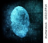 Security concept: fingerprint on digital screen - stock photo