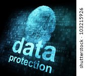 Security concept: fingerprint and data protection on digital screen - stock photo