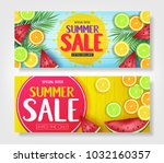 fruity summer sale colorful... | Shutterstock .eps vector #1032160357