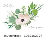 vector floral card design with... | Shutterstock .eps vector #1032162727