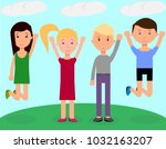 happy children with smiles are... | Shutterstock .eps vector #1032163207