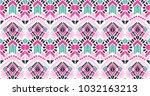 ikat geometric folklore... | Shutterstock .eps vector #1032163213