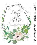 wedding invitation  invite save ... | Shutterstock .eps vector #1032166303