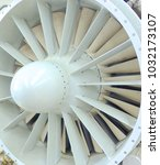 Small photo of Aircraft engine fan close up