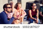 summer time. joyful handsome... | Shutterstock . vector #1032187027