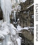 breitachklamm in winter icicles ... | Shutterstock . vector #1032194713