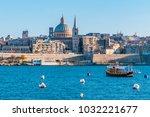 Small photo of Valletta Malta city Skyline, colorful house balcony Malta Valletta