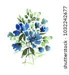 watercolor bouquet in light... | Shutterstock . vector #1032242677