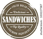 Vintage Style Sandwich Menu Stamp - stock vector
