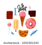 the hand drawn watercolor... | Shutterstock . vector #1032301243