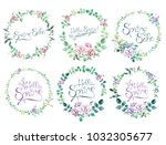 watercolor hand drawn floral... | Shutterstock . vector #1032305677