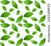 green young tea leaves on a... | Shutterstock .eps vector #1032308923