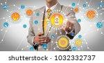 unrecognizable pharmaceutical... | Shutterstock . vector #1032332737