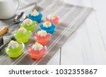 thai dessert mung bean flour  ... | Shutterstock . vector #1032355867